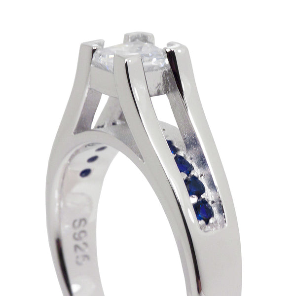 Thin Blue Line Engagement 2 Piece Set Sterling Princess Cut CZ