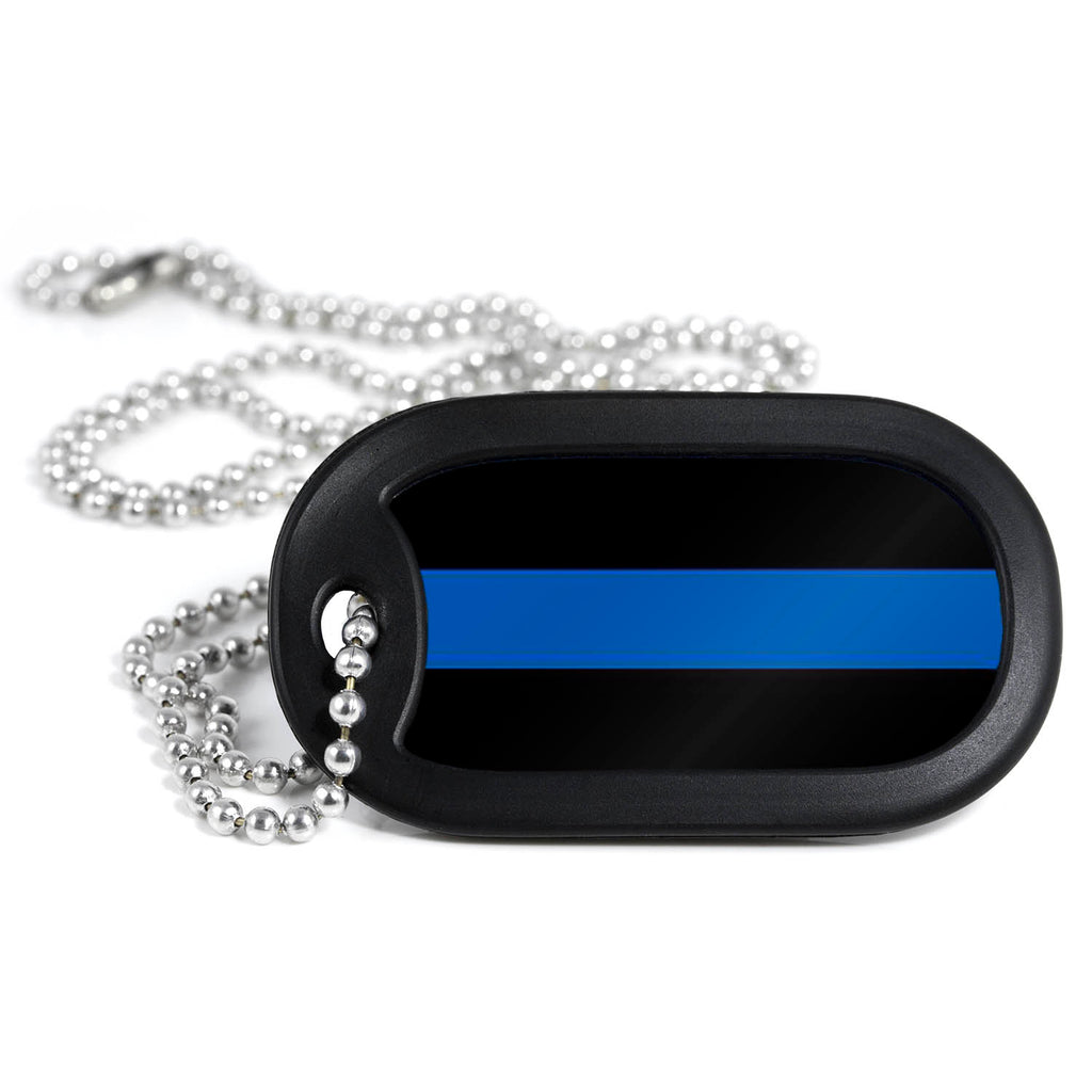 Thin Blue Line Metal Dog Tag Necklace