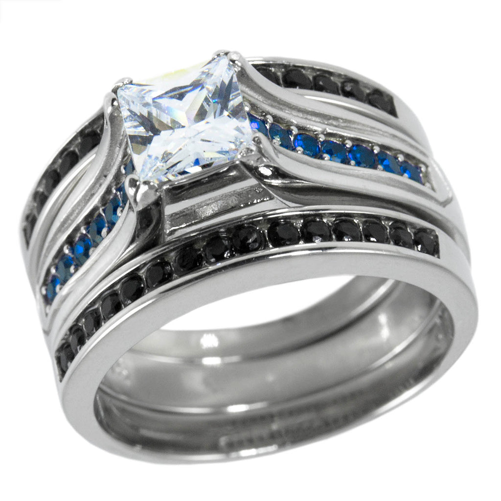 striking bright edges products rings stainless textured ring engagement diamond blue steel