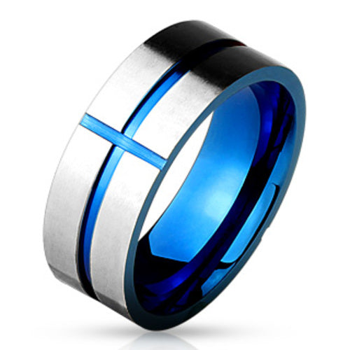 Thin Blue Line Cross Ring Stainless Steel