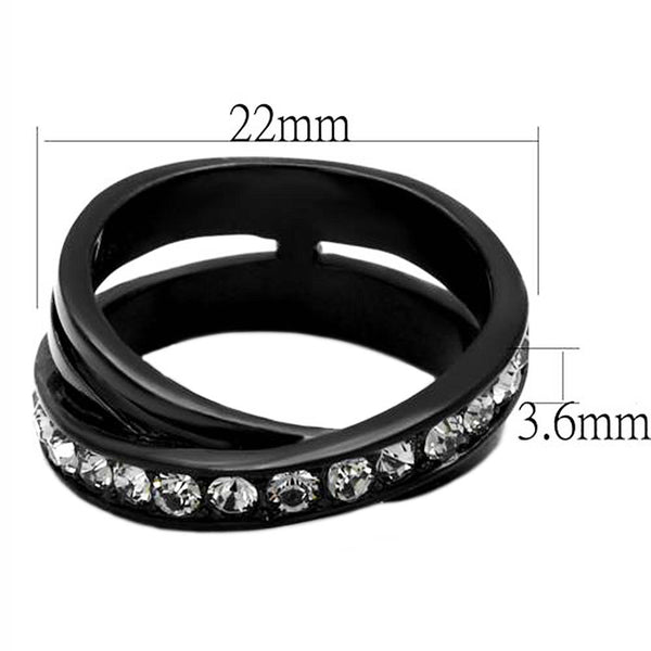 Thin Silver Line Stacked Black Bands CZ Ring