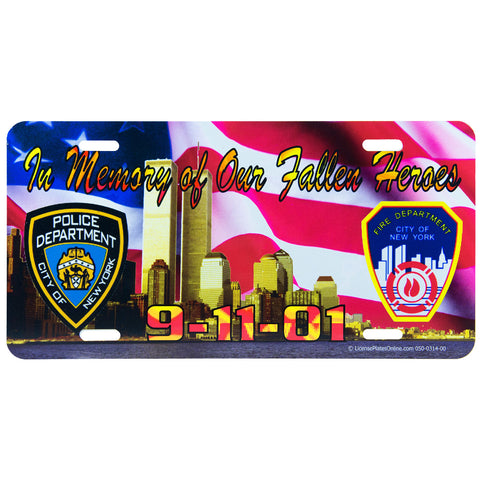 Licence Plate Police Firefighter 9/11 Fallen Heroes
