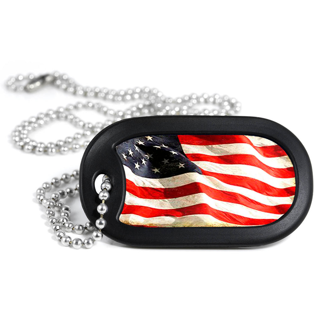 Antiqued American Flag Metal Dog Tag Necklace