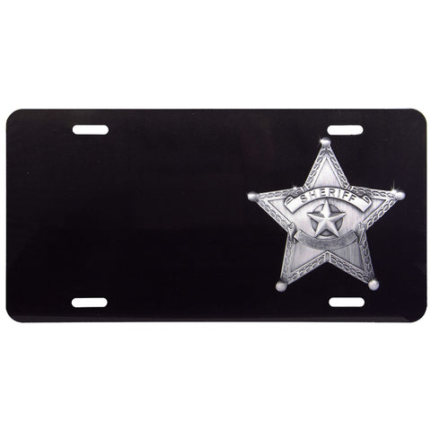 License Plate Black Sheriff Star