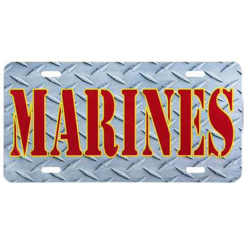 License Plate Red Marines Diamond Plate Texture