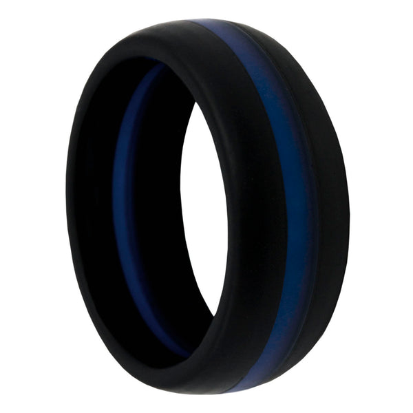Thin Blue Line Silicone Band Ring 8mm