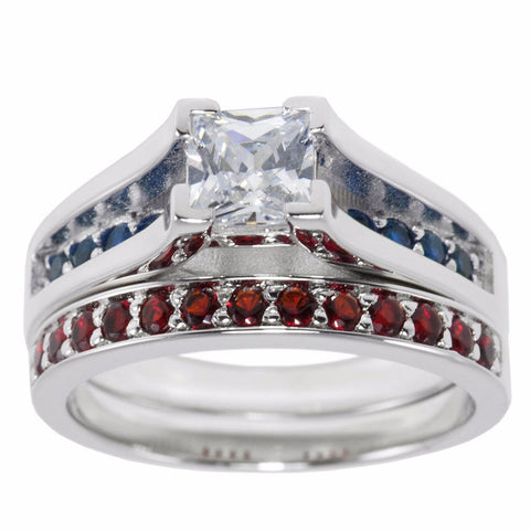Thin Blue Red Line Engagement 2 Piece Set Sterling Princess Cut CZ