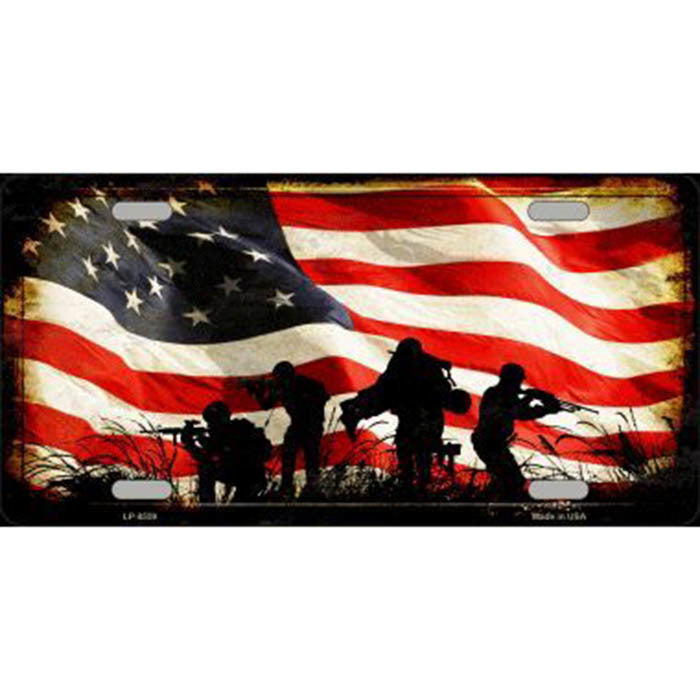 Soldier Silhouette American Flag Metal License Plate