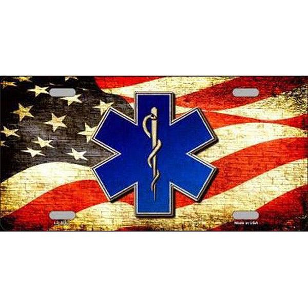License Plate Blue EMT with USA Flag