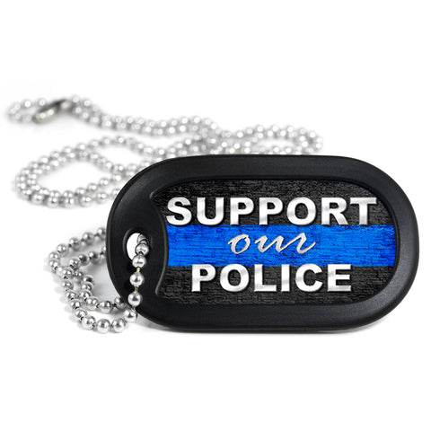 Thin Blue Line Support Our Police Metal Dog Tag Necklace