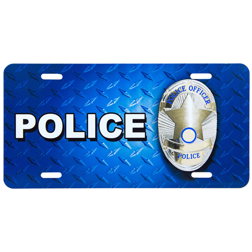 License Plate Police Badge on Textured Blue
