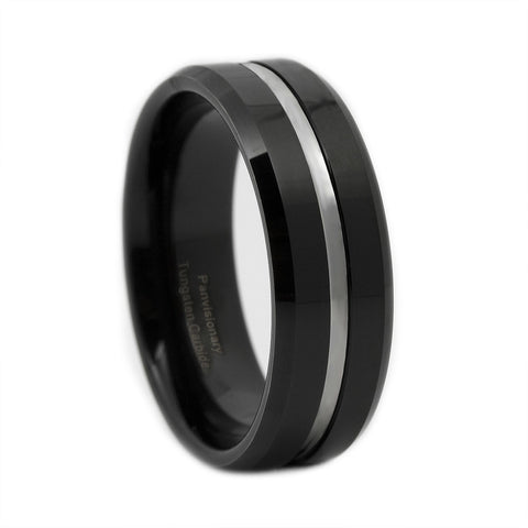 Black IP Tungsten Carbide Ring Thin Silver Line 8MM Corrections