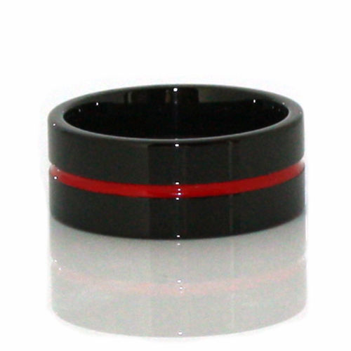 Thin Red Line Tungsten Ring 9MM Flat Thin Profile