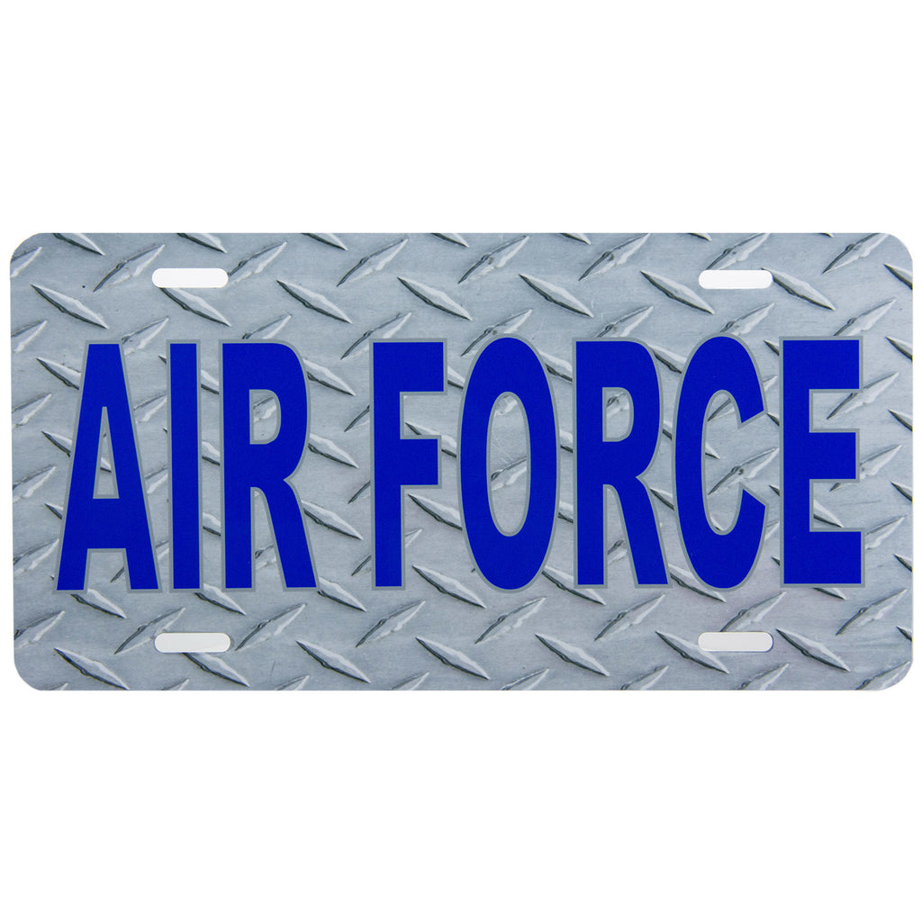 License Plate Blue Air Force Diamond Plate Texture