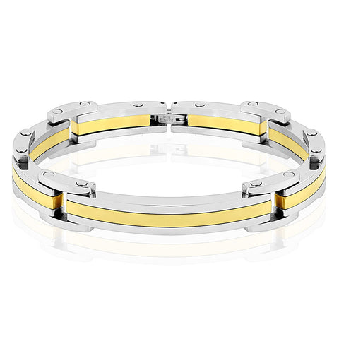 Thin Gold Line Dispatcher Bracelet Stainless Steel and Gold IP
