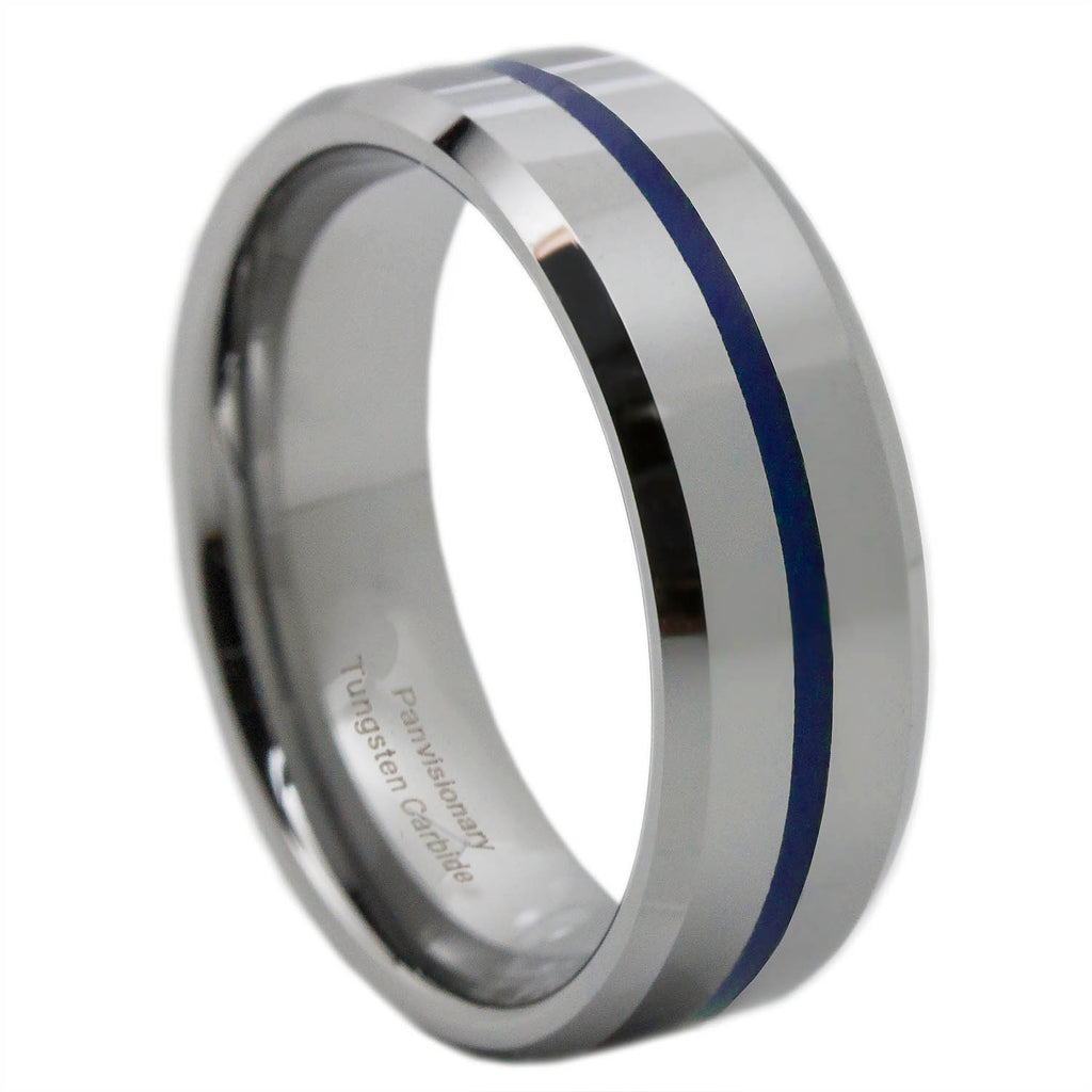 Thin Blue Line Tungsten Ring