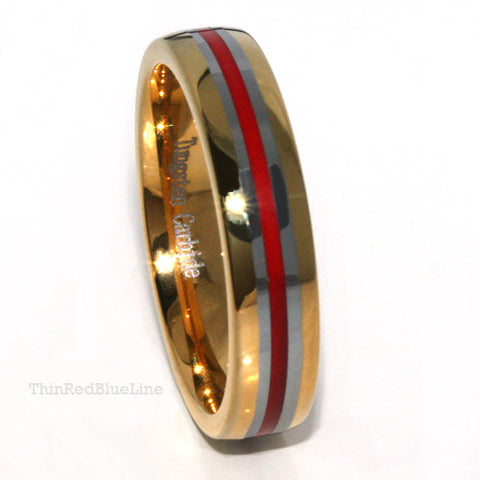 Thin Red Line 6mm Golden Ring