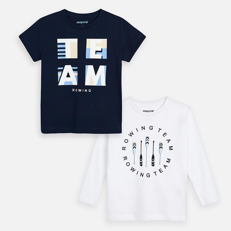 2 t-Shirts Set l//s and s//s for Boys 3076 Navy Mayoral