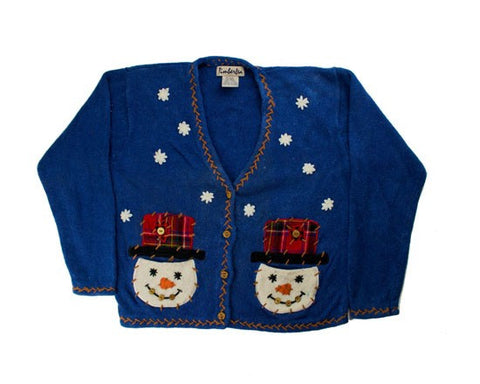 Stitched Snowmen-X-Small Christmas Sweater