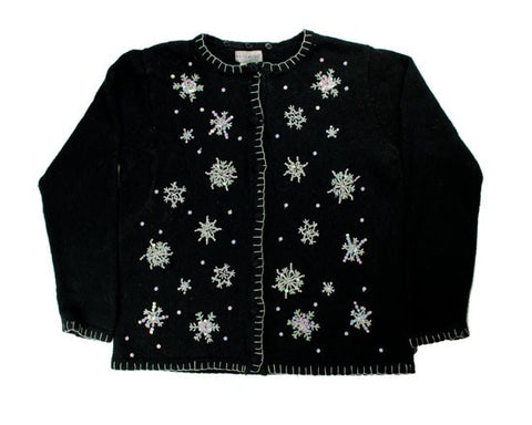 Beaded Snowflakes-Medium Christmas Sweater