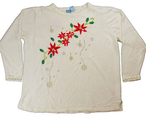 Stitched Flowers-White Large Sweater