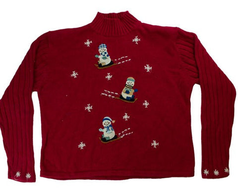 Sledding Snowmen-Medium Christmas Sweater