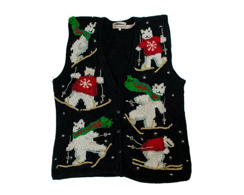 Skiing Bears-Small Christmas Sweater