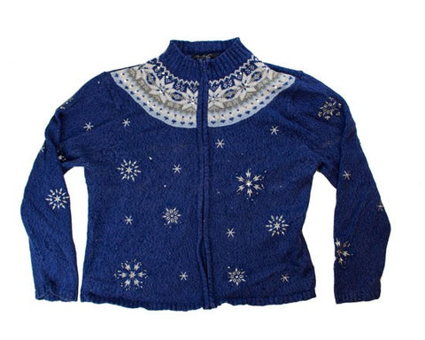 Silver Snowflakes-Medium Christmas Sweater