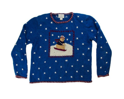 Sledding Bear-Small Christmas Sweater