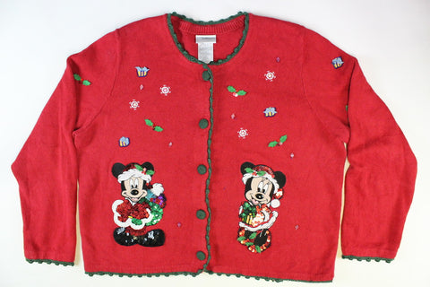 Mickey and Minnie Mouse with Candy Canes, Size  Large, Christmas Sweater