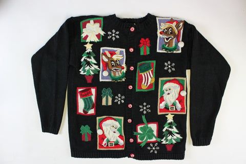 Santa with Beaded Trees, Large, Christmas Sweater