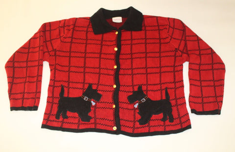 Cute Scottie dogs greeting each other.  X Large, Christmas sweater