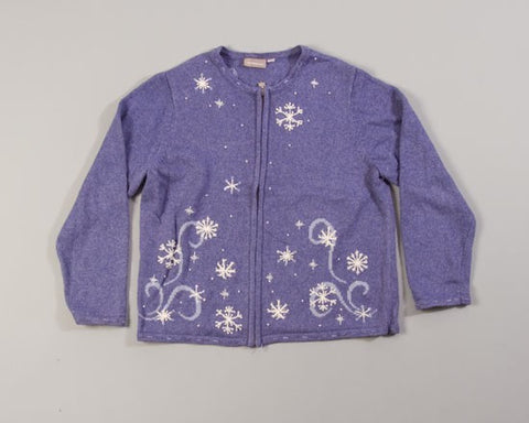 Snowflakes at Night-Large Christmas Sweater