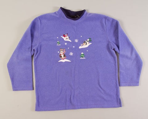 Sledding Snowmen-Large Christmas Sweater