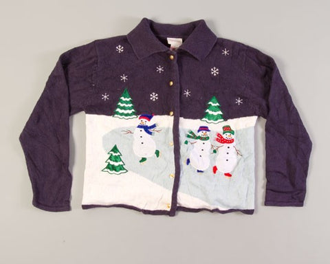 Snowmen Skating-Small Christmas Sweater