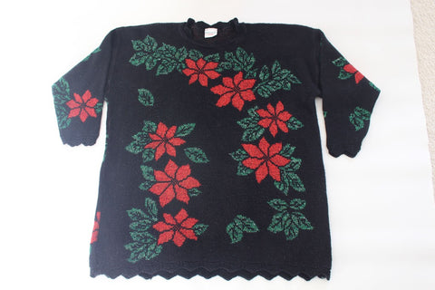 Glitsy Poinsettia !  Extra Large, Christmas sweater
