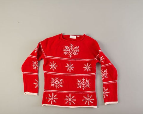 White Snowflakes on Red-Small Christmas Sweater