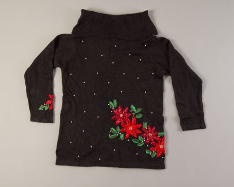 Poinsettias and Pearls-Medium Christmas Sweater