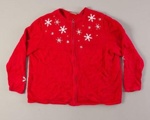 Red Night Snow Fall-Large Christmas Sweater