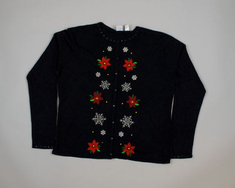 Pretty Poinsettias-Medium Christmas Sweater