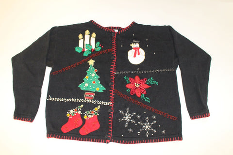 Beads Everywhere!  X Large, Christmas sweater