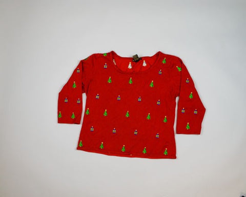 Tiny Trees and Ornaments-Small Christmas Sweater