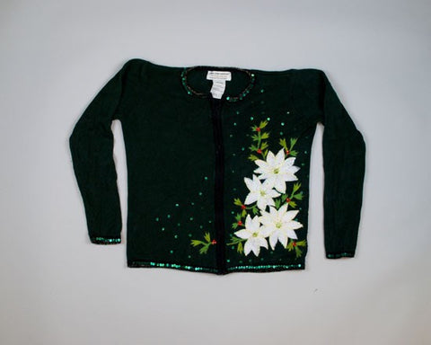 Sparkling White Poinsettias-Small Christmas Sweater