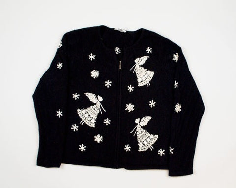 Snowflakes And Angels-Large Christmas Sweater