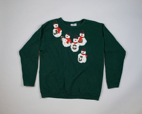 Sparkling Snowmen-Large Christmas Sweater