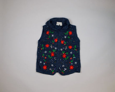 Poinsettias And Snowflakes-Small Christmas Sweater