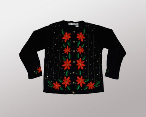 Poinsettias-Medium Christmas Sweater