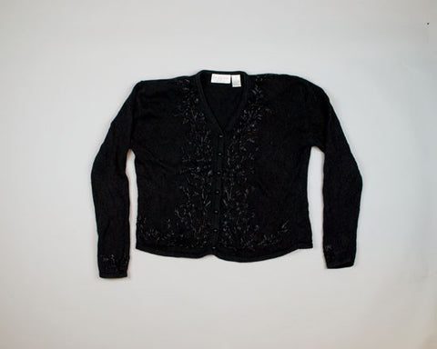 Black Beaded Foliage-Medium Christmas Sweater