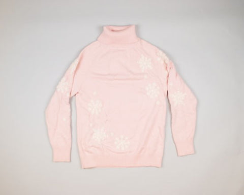 Light Pink With Snowflakes-Small Christmas Sweater