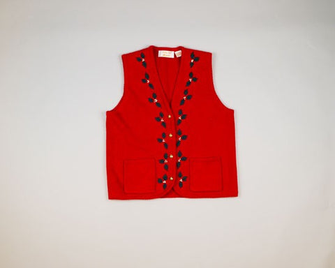 Holly Jolly Vest-Small Christmas Sweater